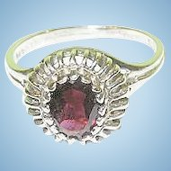 Vintage Sterling & Garnet Ring Openwork