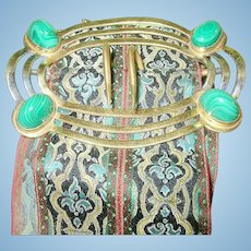 Vintage Gold Filled Malachite Belt Buckle Woven Silk Sash