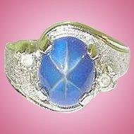 Vintage Sterling Ring Faux Star Sapphire & Faux Diamonds