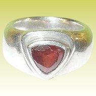 Vintage Sterling Faux Garnet Ring Modernist Design