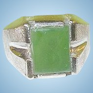 Vintage Sterling Jade Ring Men's