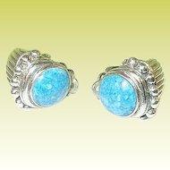 Vintage Sterling Earrings Modernist Design