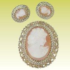Sterling & Vermeil Shell Cameo Brooch & Earring Set by K.L.