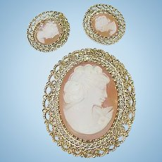 Sterling & Vermeil Shell Cameo Brooch & Earring Set by K.L.