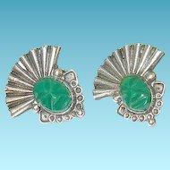 Vintage Sterling & Green Onyx Earrings