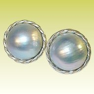 Vintage Sterling Fresh Water Grey Mobe Pearl Earrings