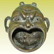 Vintage Bronze Incense Burner Theater Mask