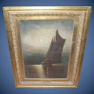 "Wesley Webber (1839-1914). Oil on Canvas ""Moonlight on Long Island Sound"""