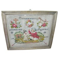 Antique German Sampler 1866 Needlepoint