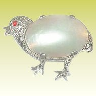 Vintage Sterling Marcasite & Mother of Pearl Chick Brooch
