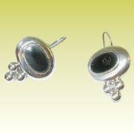 Vintage Sterling & Black Onyx Earrings