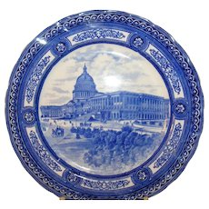 19th Century Royal Doulton Blue & White Plate U.S. Capitol Building