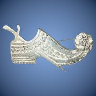 "Victorian ""800"" Coin Silver Brooch Shoe & Dagger"
