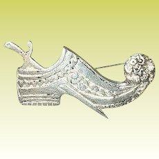 "Victorian ""800"" Coin Silver Brooch Shoe & Dagger"