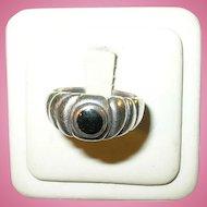 Vintage Sterling & Black Onyx Modernist Design Ring