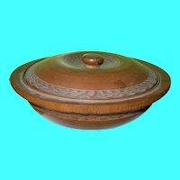 Antique Treenware Large Bowl & Lid