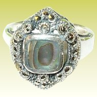 Vintage Sterling Ring Abalone & Marcasite