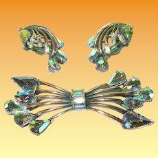 Vintage Hollycraft Brooch Earring Set Aurora Borealis