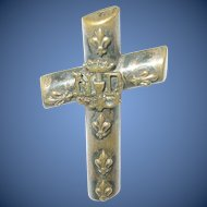Victorian Cross Brooch Raised Applied Design Notre Dame 1860's