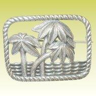 Vintage STerling Brooch Palm Trees & Ocean