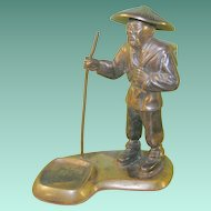 Vintage Oriental Bronze Sculpture Oriental Man Incense Burner