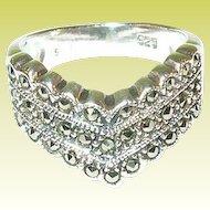 Vintage Sterling Silver & Marcasite Ring