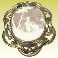 Victorian Gold Filled Brooch with Shell Cameo & Antique Photo