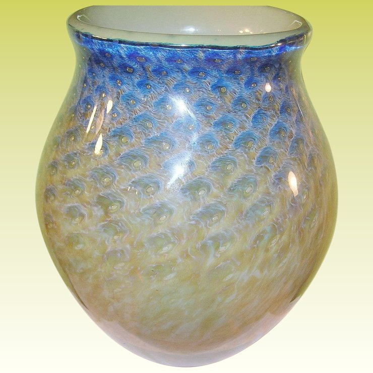 Vintage Earth Fire Lg Art Glass Vase By Philip Jacobs Robbia