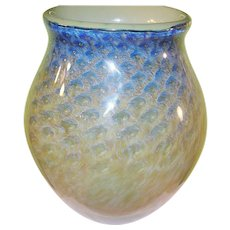 Vintage Earth & Fire Lg Art Glass Vase by Philip Jacobs
