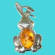 Vintage Sterling Silver & Amber Rabbit Pendant