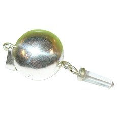 Vintage Sterling Silver Jingle Ball & Quartz Pendant