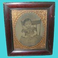 Antique Tin Type Child's Portrait Framed