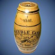 Vintage Asbro Needle Case Wooden Barrel