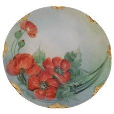 "Haviland Limoges France Hand Painted 8.5"" Porcelain Orange Poppies Plate"