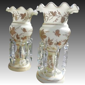 English Frosted Blown Glass Gilt Floral Ruffle Baluster Lusters with Real Prisims