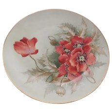 D & C Limoges France Hand Painted Poppies Design Plate 8.5""
