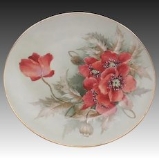"""D & C Limoges France Hand Painted Poppies Design Plate 8.5"""""""