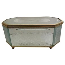 Frosted Etched & Beveled Glass Footed Jewelry Casket Box