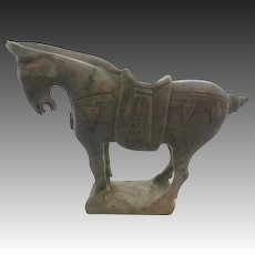 Green Jade Ming Carved Asian Horse