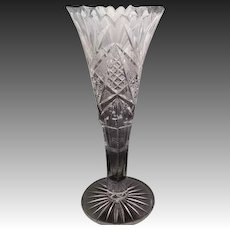 Saw Toothed Cut Crystal Vase - 8.25 inches