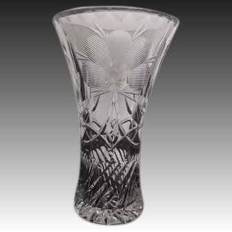 Cut Crystal and Etched Vase -  6 inches