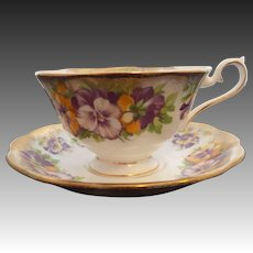 Royal Albert Pansy Bone China Cup and Saucer-Excellent ChinaCondition