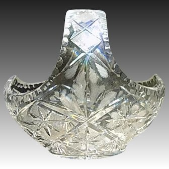 Lead Crystal Basket Deep Cut and Etched