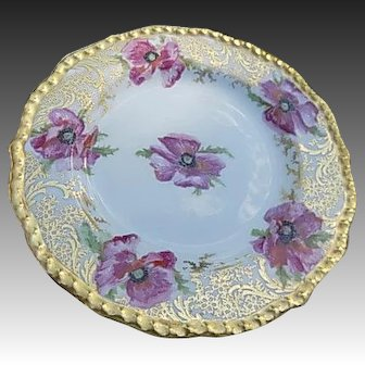 Vintage J. Pouyant Limoges HP Pink Poppies 7.5 inches Porcelain Plate