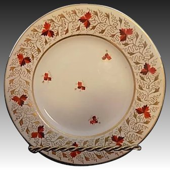 Derby  Porcelain Plate circa 1830 Heavy Gilt with Leaves