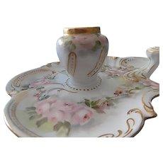 Limoges Elite Hand Painted Porcelain Floral Inkwell