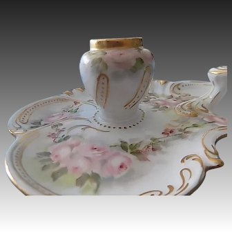 Limoges Elite Hand Painted Porcelain Floral Inkwell