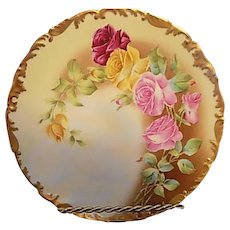 T & V Limoges France 1907 Roses Porcelain Plate