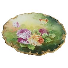 LRL Limoges France Hand Painted 11.5 inch Porcelain Plate