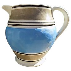 Rare 1800's Mochaware Banded Stoneware Pitcher